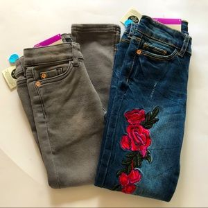 2 Pairs Skinny Jeans Blue with Rose/Grey Size 4